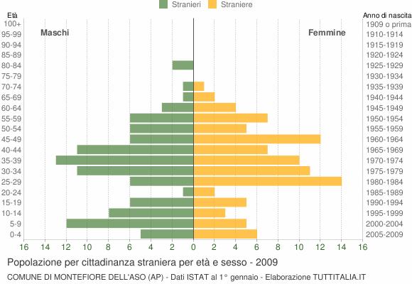 Grafico cittadini stranieri - Montefiore dell'Aso 2009
