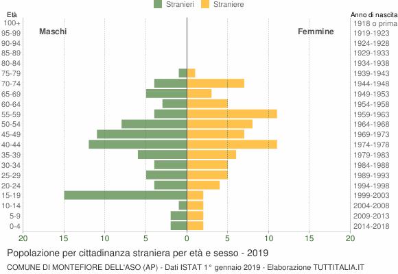 Grafico cittadini stranieri - Montefiore dell'Aso 2019