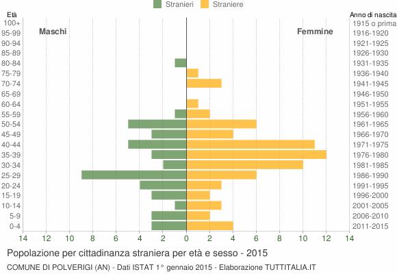 Grafico cittadini stranieri - Polverigi 2015