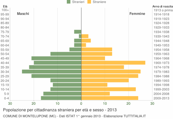 Grafico cittadini stranieri - Montelupone 2013