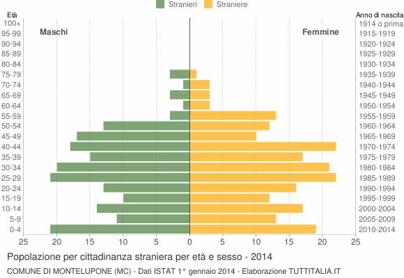 Grafico cittadini stranieri - Montelupone 2014