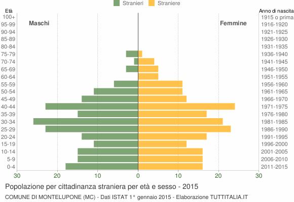 Grafico cittadini stranieri - Montelupone 2015