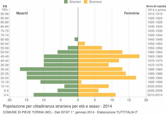 Grafico cittadini stranieri - Pieve Torina 2014