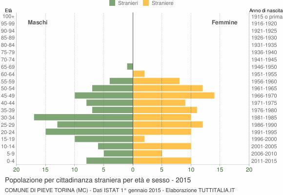 Grafico cittadini stranieri - Pieve Torina 2015