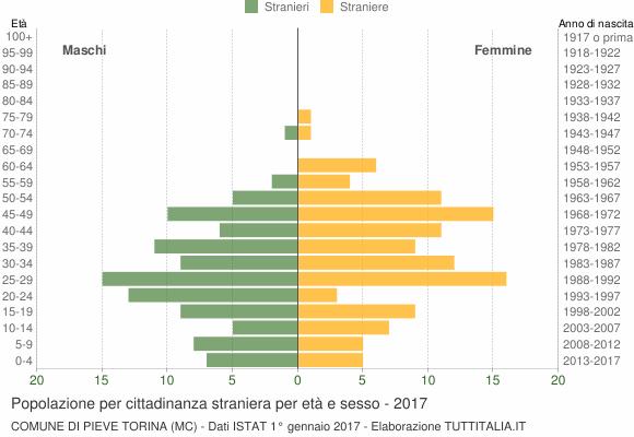 Grafico cittadini stranieri - Pieve Torina 2017