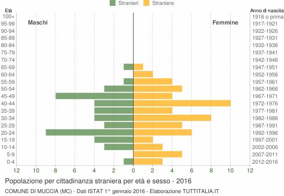 Grafico cittadini stranieri - Muccia 2016