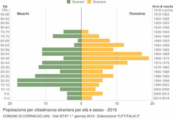 Grafico cittadini stranieri - Corinaldo 2019