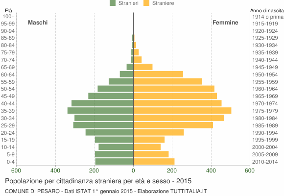 Grafico cittadini stranieri - Pesaro 2015