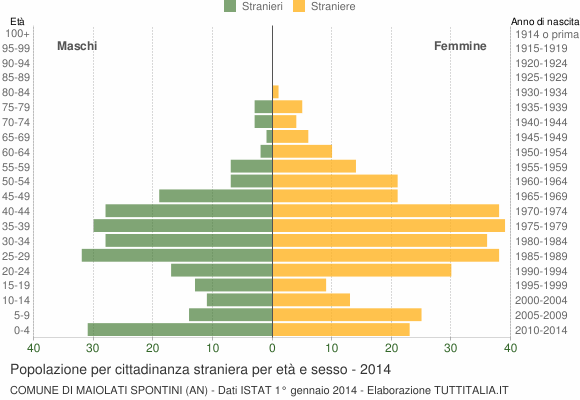 Grafico cittadini stranieri - Maiolati Spontini 2014