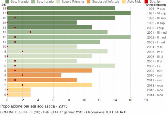 Grafico Popolazione in età scolastica - Spinete 2015