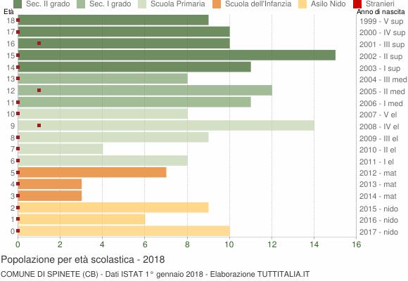 Grafico Popolazione in età scolastica - Spinete 2018