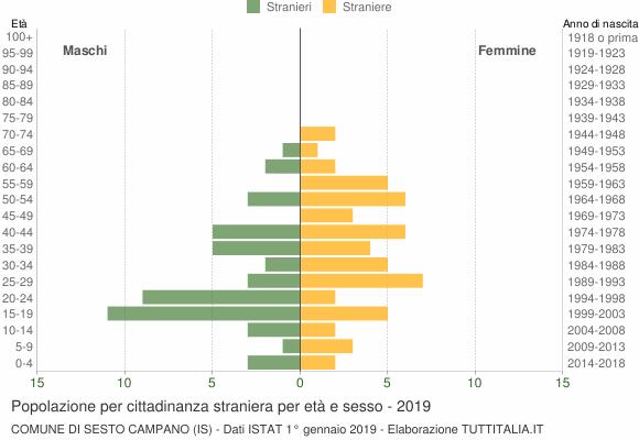 Grafico cittadini stranieri - Sesto Campano 2019
