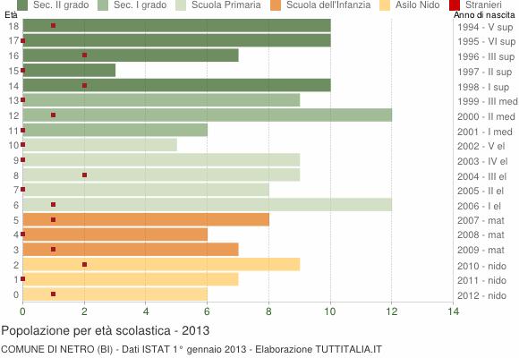 Grafico Popolazione in età scolastica - Netro 2013