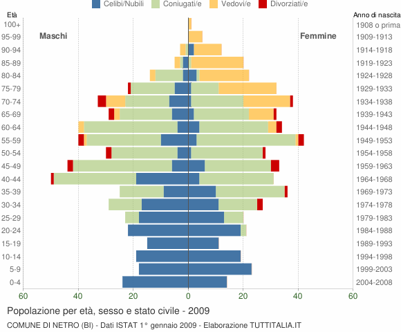 Grafico Popolazione per età, sesso e stato civile Comune di Netro (BI)