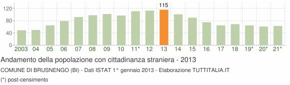 Grafico andamento popolazione stranieri Comune di Brusnengo (BI)