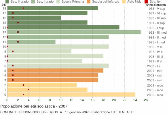 Grafico Popolazione in età scolastica - Brusnengo 2007