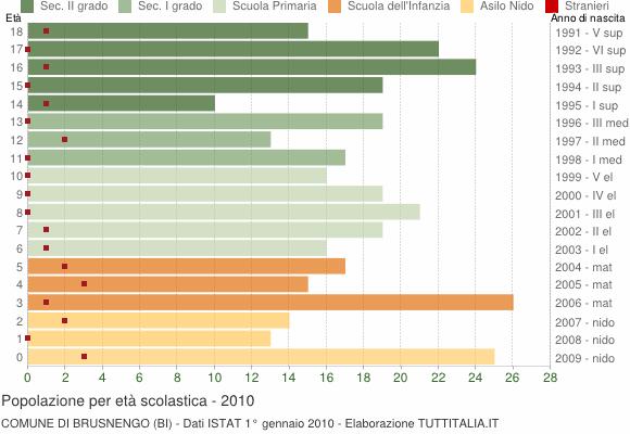 Grafico Popolazione in età scolastica - Brusnengo 2010