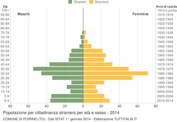 Grafico cittadini stranieri - Poirino 2014