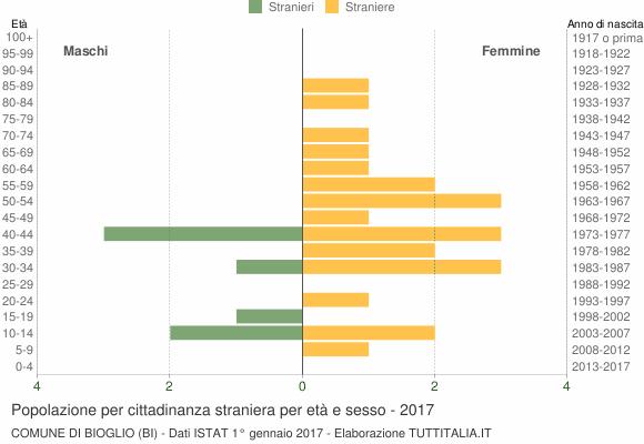 Grafico cittadini stranieri - Bioglio 2017