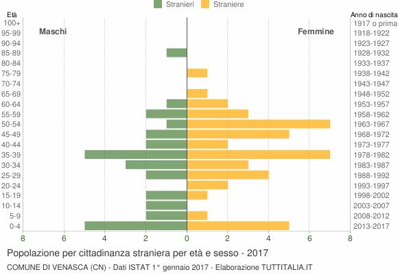 Grafico cittadini stranieri - Venasca 2017