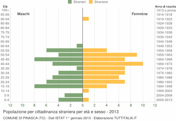 Grafico cittadini stranieri - Pinasca 2013