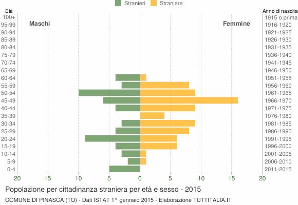 Grafico cittadini stranieri - Pinasca 2015