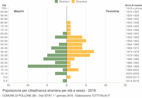 Grafico cittadini stranieri - Pollone 2018