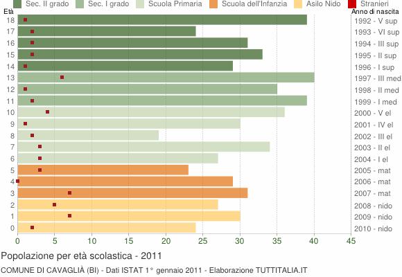 Grafico Popolazione in età scolastica - Cavaglià 2011