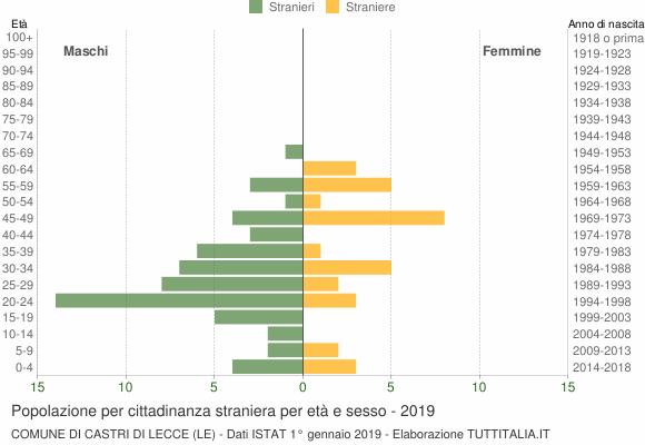 Grafico cittadini stranieri - Castri di Lecce 2019
