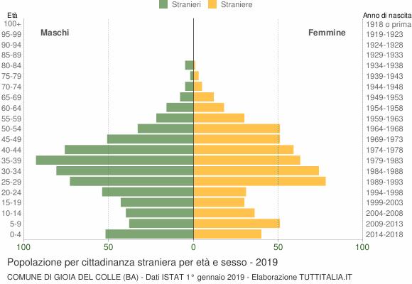 Grafico cittadini stranieri - Gioia del Colle 2019