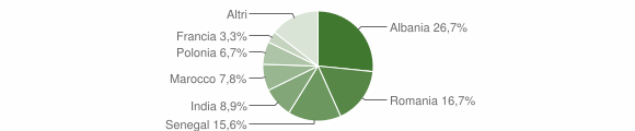 Grafico cittadinanza stranieri - San Pietro in Lama 2012