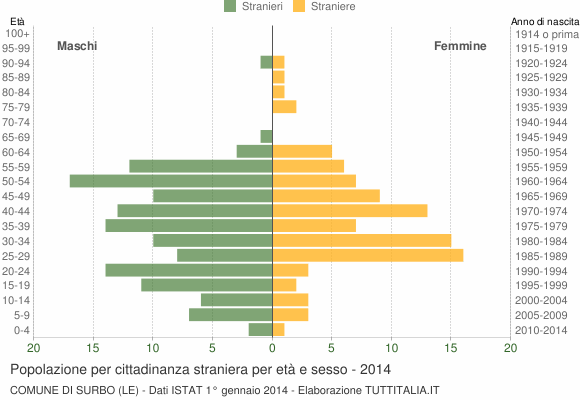 Grafico cittadini stranieri - Surbo 2014