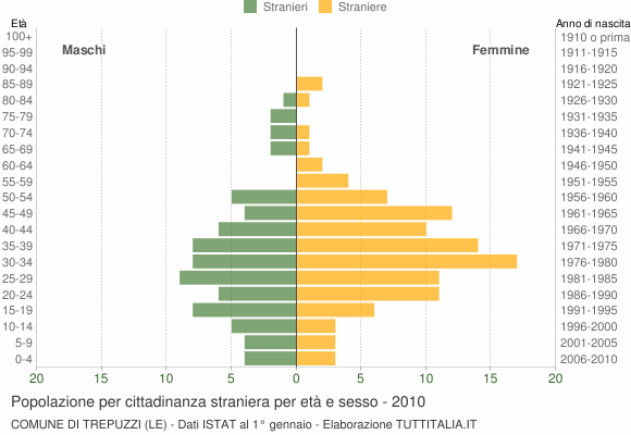 Grafico cittadini stranieri - Trepuzzi 2010