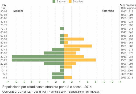 Grafico cittadini stranieri - Cursi 2014