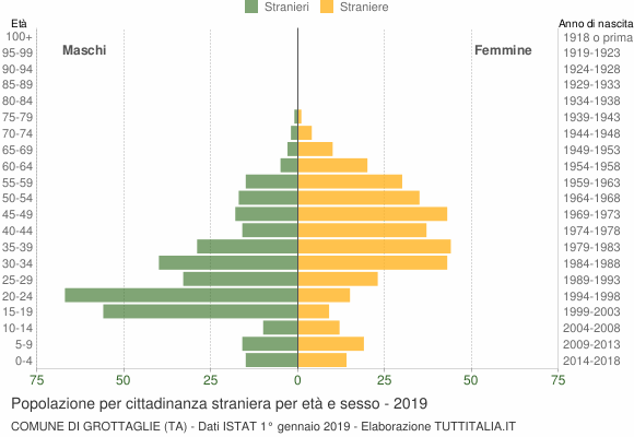 Grafico cittadini stranieri - Grottaglie 2019