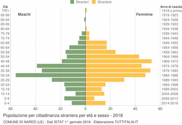 Grafico cittadini stranieri - Nardò 2018