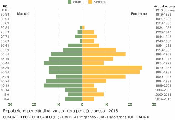Grafico cittadini stranieri - Porto Cesareo 2018