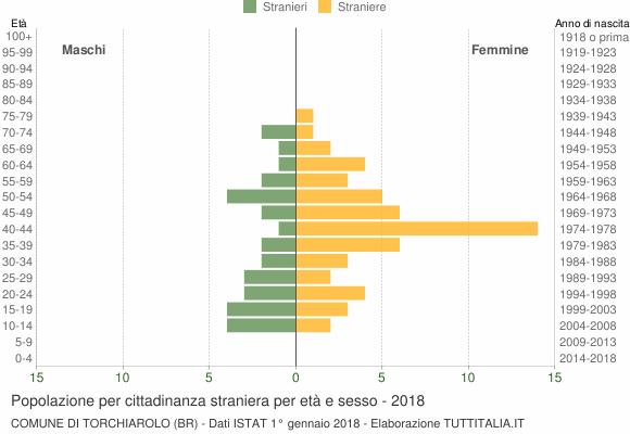 Grafico cittadini stranieri - Torchiarolo 2018