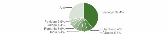 Grafico cittadinanza stranieri - Novoli 2019
