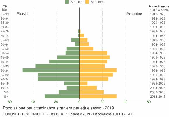 Grafico cittadini stranieri - Leverano 2019