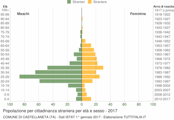 Grafico cittadini stranieri - Castellaneta 2017