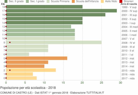 Grafico Popolazione in età scolastica - Castro 2018