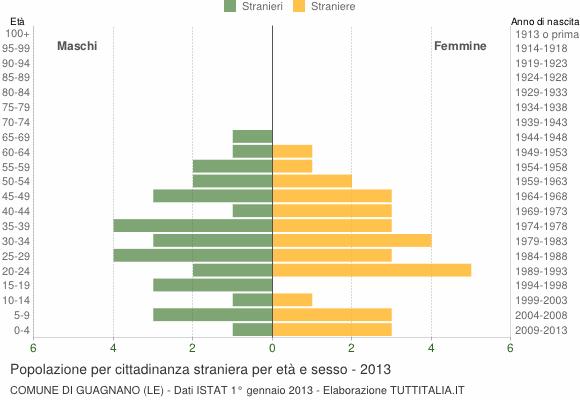 Grafico cittadini stranieri - Guagnano 2013