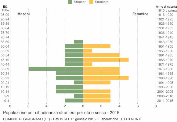 Grafico cittadini stranieri - Guagnano 2015