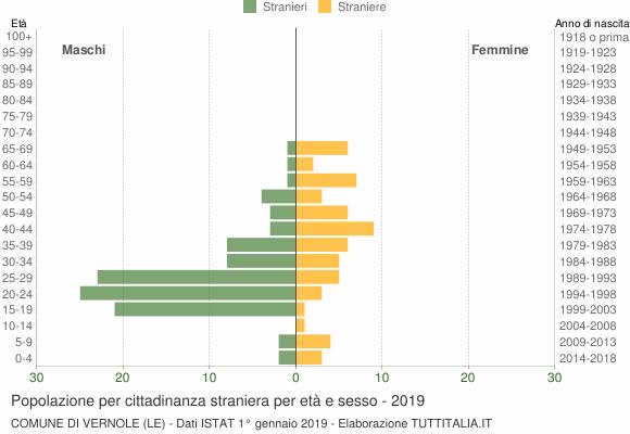 Grafico cittadini stranieri - Vernole 2019