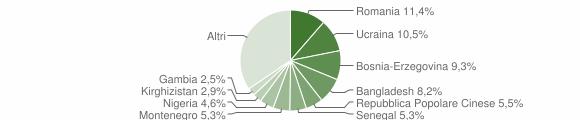 Grafico cittadinanza stranieri - Selargius 2018