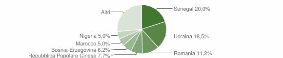Grafico cittadinanza stranieri - Monserrato 2017