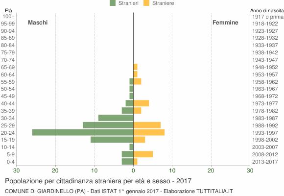 Grafico cittadini stranieri - Giardinello 2017
