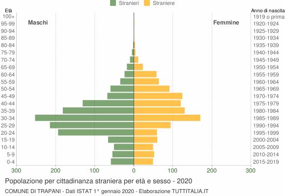 Grafico cittadini stranieri - Trapani 2020