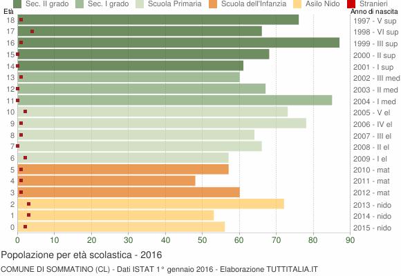 Grafico Popolazione in età scolastica - Sommatino 2016